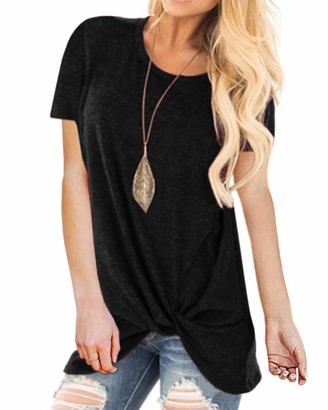 KIDSFORM Womens Casual Short Sleeve Summer T Shirts Twisted Knotted Tops X-Black S