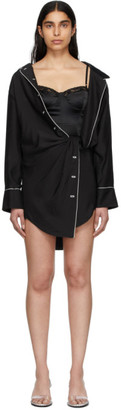 Alexander Wang Black Falling Twist Shirt Dress