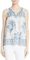 Joie Women's Cythera Print Silk Split Neck Top