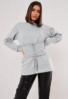 Missguided Gray Corset Detail Sweatshirt