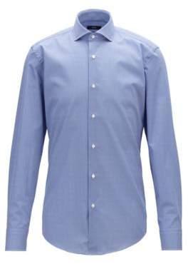 BOSS Slim-fit shirt in diamond-print Italian cotton