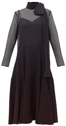 Valentino Pussy-bow Silk-organza And Cady Dress - Womens - Black