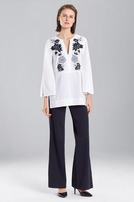 Natori Cotton Poplin Embroidered Tunic Top