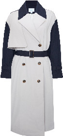 Jovonna London Cream Two tone Long Trench Coat - ONESIZE