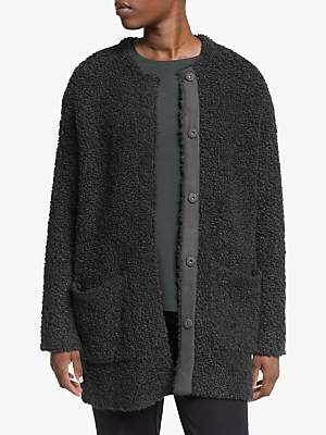 Eileen Fisher Round Neck Cardigan, Charcoal