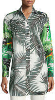 Max Mara Palm-Print Tunic Blouse, White