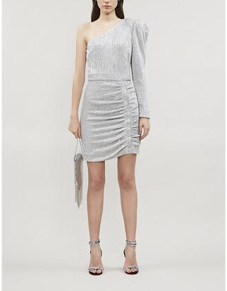 Lavish Alice One-shoulder ruched sequinned mini dress