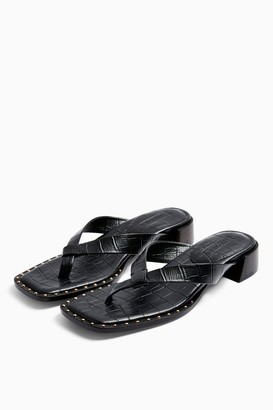 Topshop VERSE Black Leather Mule Sandals