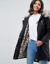 Asos Parka with Snow Leopard Faux Fur Liner