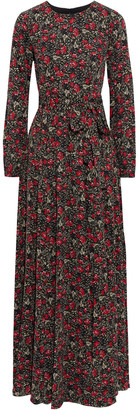Mikael Aghal Belted Floral-print Crepe De Chine Maxi Dress
