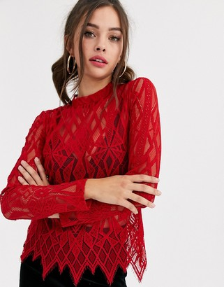 Morgan sheer lace long sleeve top in red
