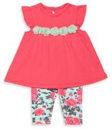 Baby Starters 2-Piece Flutter Sleeve Tunic and Floral Legging Set in Pink/Aqua