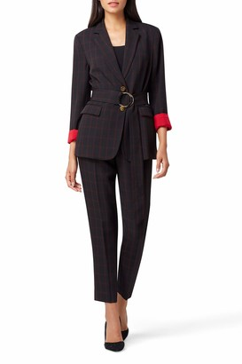 Tahari ASL Women's Petite 2 Button Jacket with Self Belt