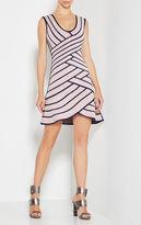 Herve Leger Millie Striped Twill Raised Jacquard Dress