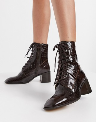 E8 by Miista Emma lace up heeled ankle boots in chocolate croc