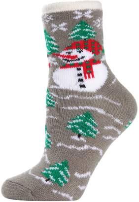 Me Moi Memoi 2-Pack Snowman Cozy Lined Faux Fur-Trim Cabin Socks