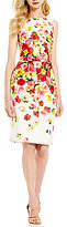 David Meister Sleeveless Printed Floral Sheath Dress