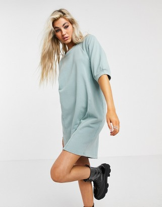 Noisy May mini sweat dress with puff sleeves in washed blue