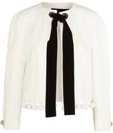 Proenza Schouler Pompom-embellished Crepe, Matelassé And Cloqué Jacket - White
