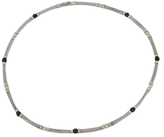 David Yurman 925 Silver & 14K Yellow Gold With Onyx & Pearl Cable Link Necklace