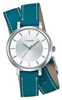Casio LTP-E143DBL-3A Women's Double Loop Green Leather Band Dial Analog Watch