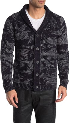 Hedge Camo Shawl Collar Button Cardigan
