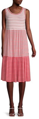 Max Studio Stripe-Panel Trapeze Dress