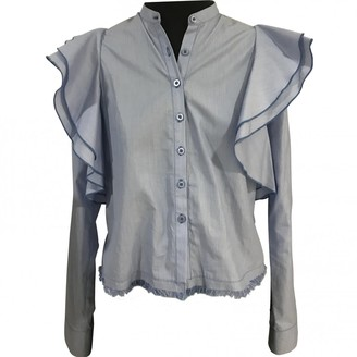 Sandra Weil Blue Cotton Top for Women