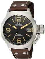 TW Steel Canteen Leather Unisex Quartz Watch with Black Dial Analogue Display and Black Leather Strap CS31