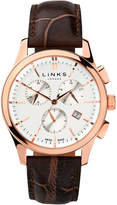Links Of London Regent Mens Rose Gold Plate & Chocolate Leather Chronograph Watch