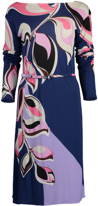 Emilio Pucci Belted Boatneck Print Dress