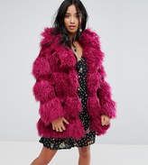 Glamorous Petite Coat In Snuggle Faux Fur