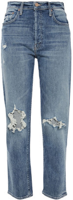 Mother The Tomcat Distressed High-rise Straight-leg Jeans