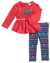Little Lass Baby Girl's Embroidered Tunic and Patterned Leggings Set