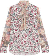 See by Chloe Pussy-bow Floral-print Chiffon And Silk-georgette Blouse - Blush