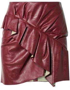Etoile Isabel Marant Zeist Ruffled Faux Textured-leather Mini Skirt