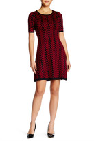 London Times Chevron Knit Fit & Flare Sweater Dress (Petite)