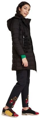 Desigual Mandala Long Padded Printed Jacket with Hood and Pockets