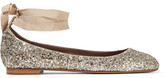 Tabitha Simmons Daria Lace-up Glittered Leather Ballet Flats - Silver