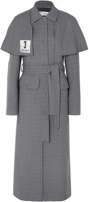 Off WhiteTM Off-white Galles Appliqued Checked Woven Trench Coat