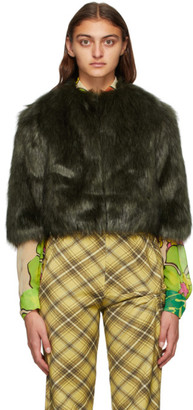 Dries Van Noten Khaki and Black Faux-Fur Cropped Jacket