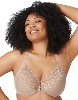 Glamorise Women's Full Figure Front Close Lace T-Back Wonderwire Bra #1246 Non-Wired Full Coverage Bra