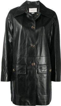 Gucci Lambskin Leather Button-Up Coat