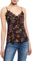 Veronica Beard Gil Floral Stretch-Silk Cami with Lace