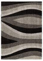 Orian Trailed Swirls Black/Gray Rug