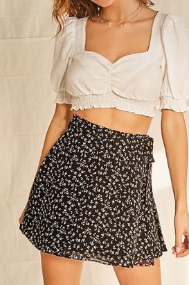 Forever 21 Floral Wrap Mini Skirt