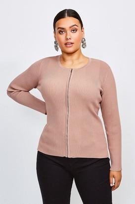 Karen Millen Curve Knitted Rib Zip Through Cardigan
