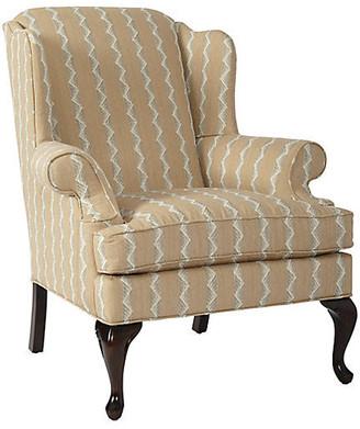 One Kings Lane Alstead Wingback Chair - Wheat Stripe