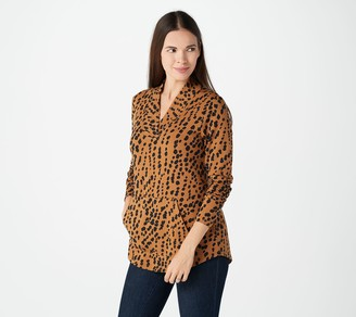 Isaac Mizrahi Live! Cheetah Printed Overlap V-Neck Knit Tunic