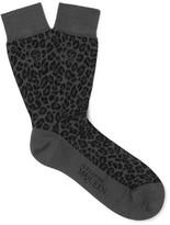 Alexander McQueen Leopard Jacquard-Knit Cotton-Blend Socks